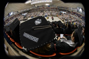 Decorated cap with fish eye lens