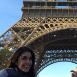 Olivia in front of the Eiffel Tower
